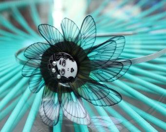 Butterfly headband, wings headband, retro, original, wedding, green, black, strass