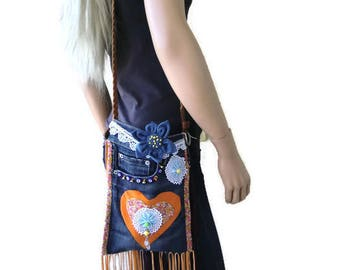 Denim Hippie Bag with beads and fringes-HANDBAGS, PURSES, SHOULDER Bags,, Mix Material summer bag -Adventure into Bag making
