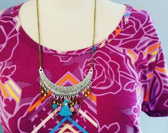 Tribal Boho Beaded Bib Style Necklace