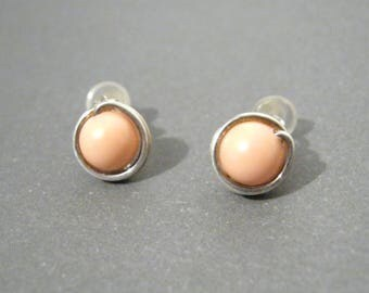 Coral Pink Wire Wrapped Sterling Silver Stud Earrings with Hypoallergenic Clear Rubber Earnuts - Bridal Wedding Minimalist