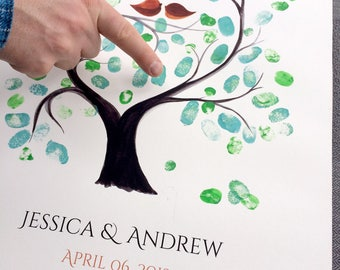 Fingerprint Guest Book custom wedding print - thumbprint ready guestbook - rustic wedding alternative