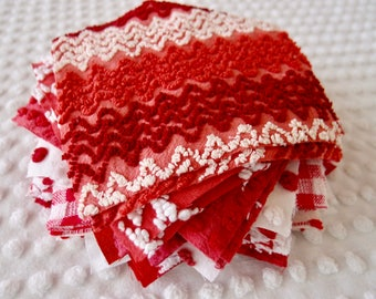 Vintage Chenille Fabric Quilt Squares - 26 - 6 inch squares, all rare RED pairs - 500-265