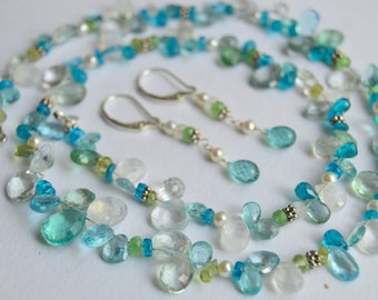 Beaded Apatite, Moonstone, Peridot and Topaz Necklace, Aquamarine and Pearl Necklace, Beaded Necklace, Silver Necklace, Necklace Set