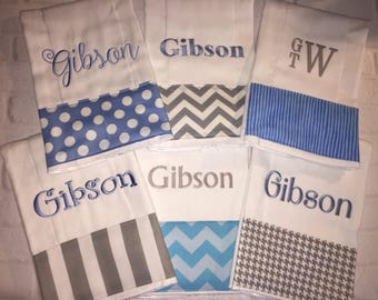 Baby gift Personalized Monogrammed Baby Burp Cloth Set of 6 Cloths for dribblers, feeding and burping for newborn