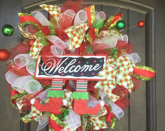 Whimsical green red white  elf Christmas Welcome