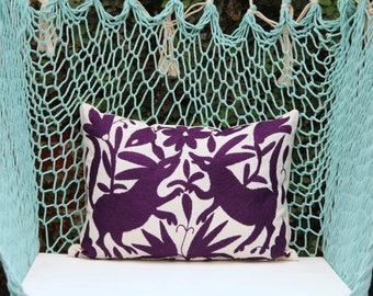 Royal Purple  Pillow Sham-Otomi Embroidery Ready to ship.