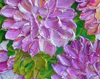 Oil Painting Dahlias , Impasto art, Original Painting , Palette Knife , Jan Ironside , gift for her