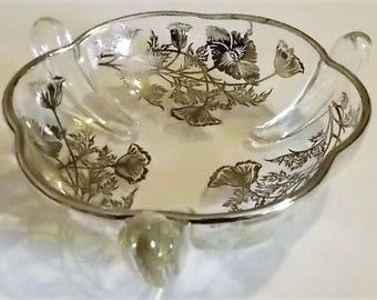 "Glass Candy Dish, Trinket Dish, Vintage, Silver Floral Design, Silver Trim,  6 3/8"" Diameter, 2 1/8"" High, Snack Dish, Decorative Dish"