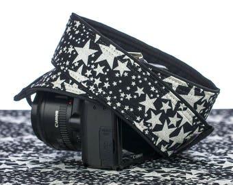 dSLR Camera Strap, Stars, Pocket, Glitter, Silver Stars, Sparkle, SLR, Canon camera strap, Nikon camera strap, Camera Neck Strap,160 w
