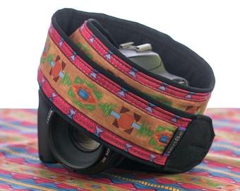 Southwestern Camera Strap, dSLR, Tribal, Pocket, Camera Neck Strap, Nikon or Canon Strap, SLR,Native American Inspired,   223