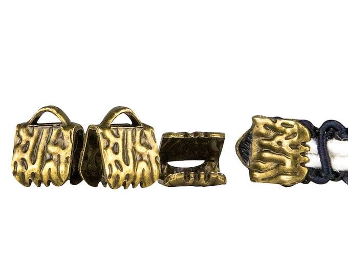 150pcs.  6mm (1/4 inch)  Antique Bronze Ribbon Clamp End Crimps - Artisan Series