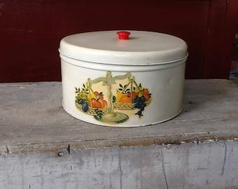 vintage cookie tin; off white cookie tin