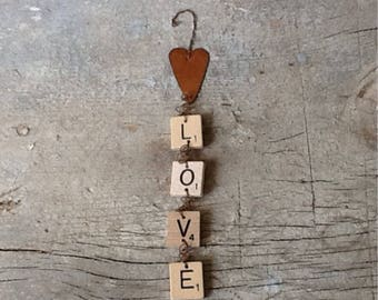 vintage scrabble love sign