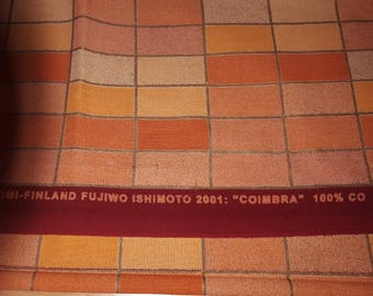 SUPER SUMMER sale Marimekko COIMBRA fabric orange Fujiwo Ishimoto 2001 tillukka square