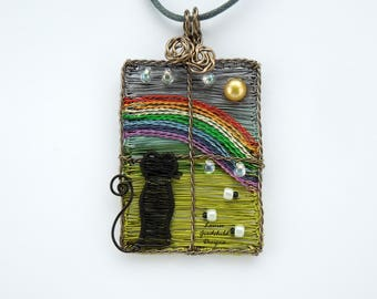 Rainbow pendant, wire scene, cat necklace, window pendant, ooak wire pendant, wire wrapped necklace, sheep pendant, window scene, rainbow