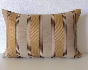 Gold stripes pillow cover - Tan and gold stripes - Decorative - lumbar pillow - throw pillow - cushion cover