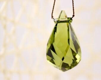 Olivine Crystal Necklace, Swarovski Helix Pendant, Knotted Silk Cord