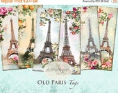 SALE - 40% OFF Old Paris Tags - Bookmarks - Hang Tags - Vintage Collage - gift Tags, scrapbooking, mixed media, altered art