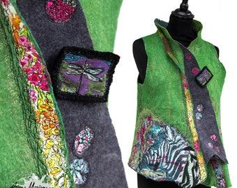 Wearable Fiber Art Woman Vest - Merino Wool Silk Nuno Felt - Outstanding Women Garment - Statement Made in France Paris Designer