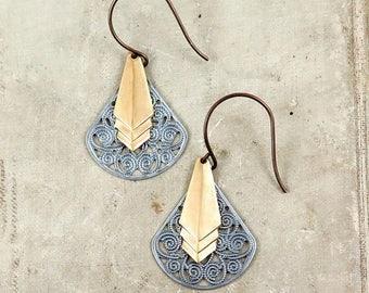 SALE 50% off Art Deco Earrings, Brass Chevron Earrings, Silver and Gold, Antiqued Silver Filigree Earrings, Geometric Earrings, Gift for Her