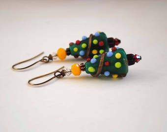 Christmas Tree Earrings, Lampwork Glass Bead Earrings, Green Earrings, Artisan Earrings, Festive Earrings, Holiday Jewelry