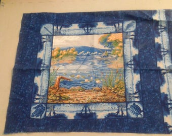 fabric Panel of Fish and Fisherman 249283