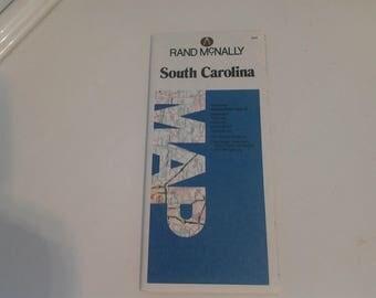 1989 Rand McNally South Carolina map from a library no sign of use