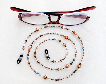 Boho Eyeglass Chain, Beaded, Harvest Colors, Freshwater Pearl, Mixed Beads, Handmade Necklace for Glasses, Gift for Crafters, Teachers, Pros
