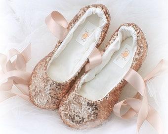Rose Gold Wedding Flats,Sequin Ballet Flats,Bling Wedding Shoes,Lace Up Flats,Flower Girl Flats,Rose Gold Shoes,Custom Wedding Flats,Elegant