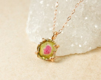 Raw Watermelon Tourmaline Slice Necklace - Raw Tourmaline Pendant - Gold Filled