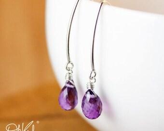 ON SALE Silver Purple Amethyst Gemstone Earrings - February Birthstone - Hook Earrings