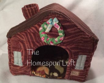 Log Cabin Pet Hide House for Guinea Pigs and Hedgehogs