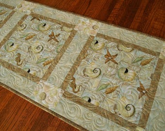 Summer Beach Decor, Quilted Table Runner with Seashells Aqua Gold and Brown, Seashell Table Decor, Ocean Theme Table Runner, Bedroom Decor