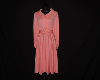 1970s melon dress peach shirtwaist disco pleated skirt vintage dress large XL