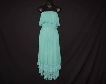 gauzy fringed strapless dress 80s boho goddess hippie aquamarine dress OSFM