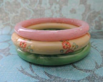 floral bangle stack instant bracelet collection vintage lucite pastel stacking bracelets painted bangles