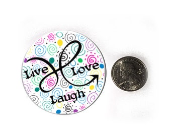 Pink Blue Pastel Doodle Arrow Live Laugh Love Refrigerator Magnet  2 1/4 inches in diameter  Fridge Magnet
