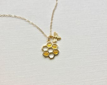Honeycomb Bee Necklace Gold, Beehive Pendant, Gold Bee Necklace, Honey Autumn Jewelry, Mothers Necklace, Gold Necklace, Gift For Her