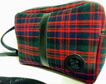 Vintage 80s Plaid Shoulder Purse Handbag Top Zip.