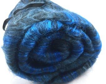 Spinning Fiber - Smooth Batt - Alpaca, Silk, Firestar - Black Sapphire - 4 oz