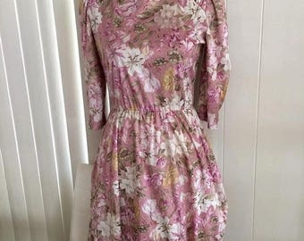 Memorial Day Sale 25% OFF SALE Pretty Vintage 70's Silky Lilly Print Dress in Pinks -- Size M-L