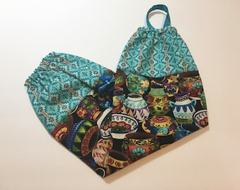 Turquoise with Painted Clay Pots Grocery Bag Holder