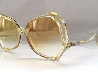 80s Vintage Spider Web Shape Big Transparent Sunglasses