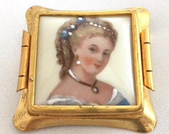 Vintage Limoges Porcelain Woman's Portrait Brooch/Pin