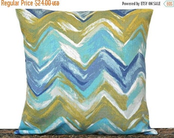 Christmas in July Sale Blue Chevron Pillow Cover Cushion Contemporary Coastal Turquoise Green Beige Mustard  Decorative 18x18