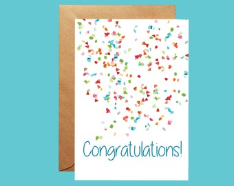 Congratulations Confetti Card, Personalised Card, Celebration Greetings Card, Well Done Card, Success Card, New Job, New Home, Graduation