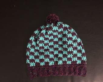 Teal/Multi-colored Purple Slouchy Hat