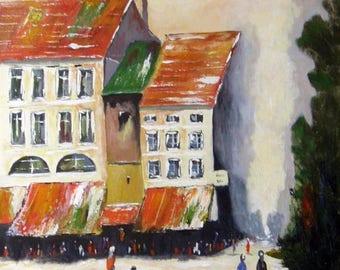 Town Square - Original Urban Acrylic Painting