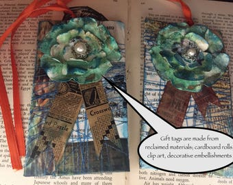 Gift Tags, handmade, shabby chic, recycled materials, vintage paper, embellishments