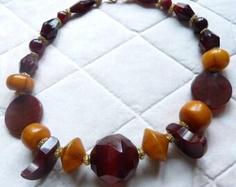 Idar Oberstein Handcut Agate Trade Beads - African Amber Necklace